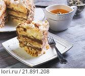Торт с безе, шоколадом и чашка чая. Стоковое фото, фотограф Sergey Fatin / Фотобанк Лори
