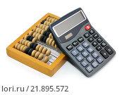 Купить «Калькулятор и счеты. Бизнес-натюрморт», эксклюзивное фото № 21895572, снято 20 февраля 2016 г. (c) Юрий Морозов / Фотобанк Лори