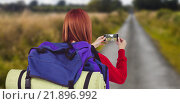 Купить «Composite image of smiling hipster woman with a travel bag», фото № 21896992, снято 19 марта 2019 г. (c) Wavebreak Media / Фотобанк Лори