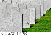 Купить «Lines of grey stone militery grave markers standing at the graves of soilders in a military cemetery in Saint John New Brunswick, Canada.», фото № 21911792, снято 28 сентября 2015 г. (c) age Fotostock / Фотобанк Лори