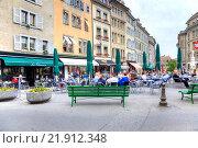 Купить «Женева. Летнее кафе», фото № 21912348, снято 6 мая 2014 г. (c) Parmenov Pavel / Фотобанк Лори