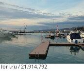 Купить «Яхты и корабли на причале в морском порту Сочи», фото № 21914792, снято 13 февраля 2016 г. (c) DiS / Фотобанк Лори