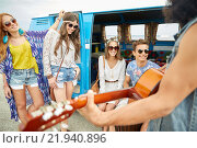 Купить «happy hippie friends playing music over minivan», фото № 21940896, снято 27 августа 2015 г. (c) Syda Productions / Фотобанк Лори