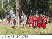 Отряд стрельцов движется на привал в лагерь перед молодинской битвой. Редакционное фото, фотограф Горбачев Матвей Владимирович / Фотобанк Лори