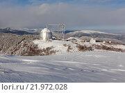 Купить «Большой телескоп альт-азимутальный (БТА) Специальной астрофизической обсерватории (САО), Зеленчукская обсерватория. Посёлок Нижний Архыз, Карачаево-Черкесия.», фото № 21972028, снято 31 декабря 2015 г. (c) Илья Бесхлебный / Фотобанк Лори