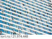 Купить «Окна современного дома крупным планом. Северное Чертаново. Москва. Россия», фото № 21974448, снято 28 февраля 2016 г. (c) Екатерина Овсянникова / Фотобанк Лори