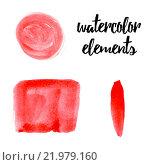 Геометрические элементы нарисованы красной краской на белом фоне. Стоковая иллюстрация, иллюстратор Алла Корниенко / Фотобанк Лори