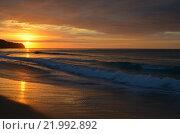Рассвет на Атлантическом океане, Португалия. Стоковое фото, фотограф Калинина Наталья / Фотобанк Лори