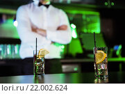 Купить «Two glasses of gin on bar counter», фото № 22002624, снято 22 сентября 2015 г. (c) Wavebreak Media / Фотобанк Лори