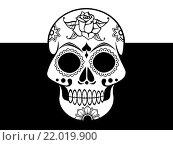 Купить «Изображение черепа на черно-белом фоне», иллюстрация № 22019900 (c) Демченко Елена / Фотобанк Лори