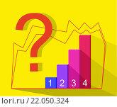 Бизнес- инфографика .  Знак вопроса на желтом фоне, тени. Вектор. Стоковая иллюстрация, иллюстратор Ира Кураленко / Фотобанк Лори