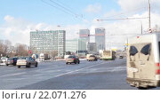 Купить «Москва. Ленинградский проспект», видеоролик № 22071276, снято 27 февраля 2016 г. (c) Parmenov Pavel / Фотобанк Лори