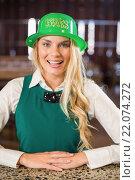 Купить «Woman wearing saint Patricks day hat», фото № 22074272, снято 24 октября 2015 г. (c) Wavebreak Media / Фотобанк Лори
