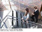 Купить «Businesspeople climbing staircase in office», фото № 22074896, снято 18 октября 2015 г. (c) Wavebreak Media / Фотобанк Лори