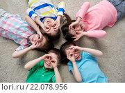 Купить «happy children making faces and having fun», фото № 22078956, снято 31 января 2016 г. (c) Syda Productions / Фотобанк Лори