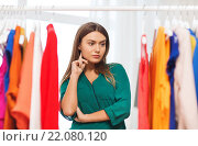 Купить «woman choosing clothes at home wardrobe», фото № 22080120, снято 19 февраля 2016 г. (c) Syda Productions / Фотобанк Лори
