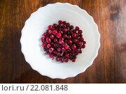 Купить «Ягоды клюквы на тарелке», фото № 22081848, снято 4 марта 2016 г. (c) Ермилова Арина / Фотобанк Лори