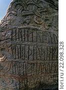 Купить «Die Textseite des GROSSEN JELLINGSTEIN - (Runensteine von Jelling) / HARALDS RUNESTONE with text - (Jelling Stones) / Daenemark - Denmark», фото № 22098328, снято 20 мая 2019 г. (c) age Fotostock / Фотобанк Лори
