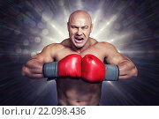 Купить «Composite image of angry bald boxer with punching gloves», фото № 22098436, снято 19 июля 2019 г. (c) Wavebreak Media / Фотобанк Лори