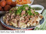 Купить «Казахское национальное блюдо - бешбармак», фото № 22100544, снято 8 марта 2016 г. (c) Ален Лагута / Фотобанк Лори