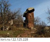 Каменные грибы Сотеры - уникальное геологическое образование, созданное путем выветривания, и является достопримечательностью Крыма. Стоковое фото, фотограф Наталья Корзина / Фотобанк Лори