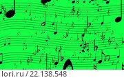 Купить «Зеленый фон с нотами», видеоролик № 22138548, снято 8 марта 2016 г. (c) Андрей Армягов / Фотобанк Лори