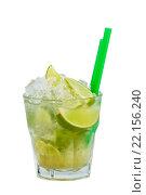 Купить «Caipirinha cocktail with lime, ice and straws isolated on a white bacground. », фото № 22156240, снято 21 марта 2019 г. (c) PantherMedia / Фотобанк Лори