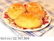 Купить «Домашние пирожки с начинкой на тарелке», эксклюзивное фото № 22161904, снято 31 декабря 2013 г. (c) lana1501 / Фотобанк Лори