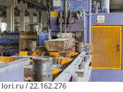 Купить «Пилорама. Процесс распиловки бревен на доски», фото № 22162276, снято 27 августа 2015 г. (c) Евгений Ткачёв / Фотобанк Лори