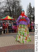Купить «Кукла для сжигания на Масленицу, центральная площадь города Железнодорожного, Московская область», эксклюзивное фото № 22162472, снято 12 марта 2016 г. (c) Алексей Гусев / Фотобанк Лори