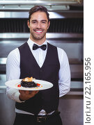 Купить «Handsome waiter holding a plate of squid ink spaghetti», фото № 22165956, снято 23 ноября 2015 г. (c) Wavebreak Media / Фотобанк Лори