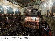 Купить «Palau de la Musica Catalana with audience, Spain», фото № 22170204, снято 26 ноября 2015 г. (c) Яков Филимонов / Фотобанк Лори