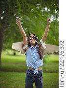 Купить «Young girl pretending to fly», фото № 22176372, снято 26 ноября 2015 г. (c) Wavebreak Media / Фотобанк Лори