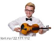 Купить «Young funny violin player isolated on white», фото № 22177112, снято 17 января 2014 г. (c) Elnur / Фотобанк Лори