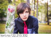 Купить «Школьник с розой», фото № 22213332, снято 1 сентября 2015 г. (c) Ермилова Арина / Фотобанк Лори