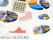 Купить «Калькулятор, графики и диаграммы. Бизнес-натюрморт», эксклюзивное фото № 22213452, снято 7 марта 2016 г. (c) Юрий Морозов / Фотобанк Лори