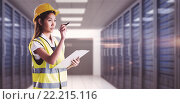 Купить «Composite image of architect woman with yellow helmet and plans», фото № 22215116, снято 20 октября 2018 г. (c) Wavebreak Media / Фотобанк Лори