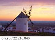 windmills at field in twilight. La Mancha (2014 год). Стоковое фото, фотограф Яков Филимонов / Фотобанк Лори