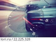 Купить «close up of car racing on speedway track from back», фото № 22225328, снято 28 марта 2015 г. (c) Syda Productions / Фотобанк Лори