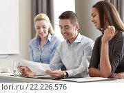Купить «business people with papers meeting in office», фото № 22226576, снято 25 октября 2014 г. (c) Syda Productions / Фотобанк Лори