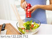 Купить «close up of woman cooking vegetable salad at home», фото № 22226712, снято 26 апреля 2015 г. (c) Syda Productions / Фотобанк Лори