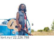 Купить «hippie man with guitar over minivan car outdoor», фото № 22226788, снято 27 августа 2015 г. (c) Syda Productions / Фотобанк Лори