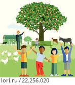 Купить «kids on the farm», иллюстрация № 22256020 (c) PantherMedia / Фотобанк Лори