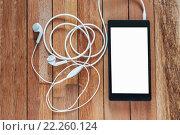 Купить «Emotion of relax, Smartphone white screen with earphone», фото № 22260124, снято 15 ноября 2018 г. (c) PantherMedia / Фотобанк Лори