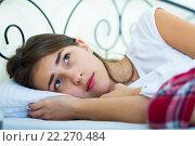 Купить «Ordinary teenage girl with sad look in bed», фото № 22270484, снято 12 июля 2020 г. (c) Яков Филимонов / Фотобанк Лори