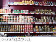 Купить «Canned and tinned products in Russian food store», фото № 22270532, снято 2 февраля 2016 г. (c) Яков Филимонов / Фотобанк Лори