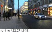 Купить «Москва, улица Мясницкая вечером», эксклюзивный видеоролик № 22271848, снято 21 марта 2016 г. (c) Alexei Tavix / Фотобанк Лори
