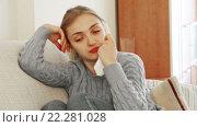 Купить «Sad girl waiting for a phone call in domestic interior», видеоролик № 22281028, снято 3 декабря 2015 г. (c) Яков Филимонов / Фотобанк Лори