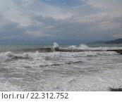 Купить «Шторм на Черном море и грозовые облака, побережье Сочи», фото № 22312752, снято 18 марта 2016 г. (c) DiS / Фотобанк Лори