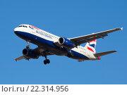 Самолет Airbus A320-232 (G-EUYM) компании British Airways крупным планом (2016 год). Редакционное фото, фотограф Виктор Карасев / Фотобанк Лори